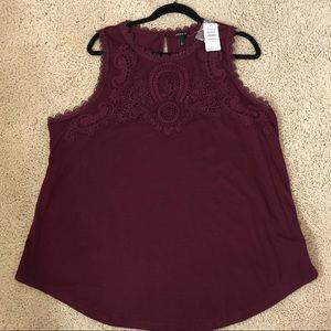 TORRID Burgundy Top with Laced Detail